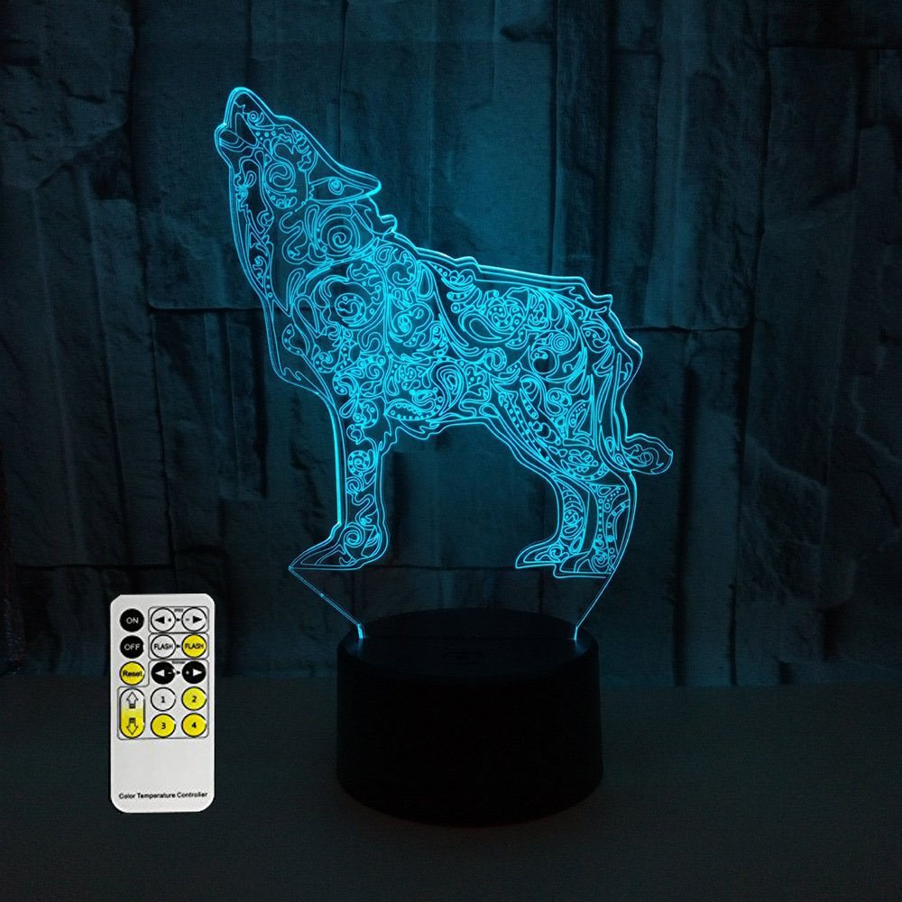 MJDUO-3D Remote Control Touch Night Light, Illusion 7 Color LED Changing Light, Customized Photos, Anime, Movies, Animals, Group photos, All photos. Personalized Gifts (wolf)