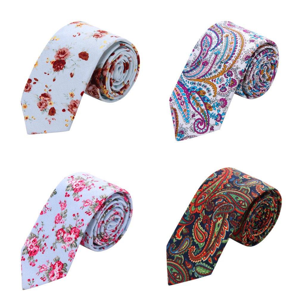 AUSKY 4 Packs Mens Floral Skinny Neckties Printed Cotton ties in Different Textured Flower (Floral C)