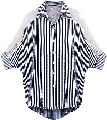 BOLAWOO Camisas Mujer Blusas Tallas Grandes Verano Rayas ...