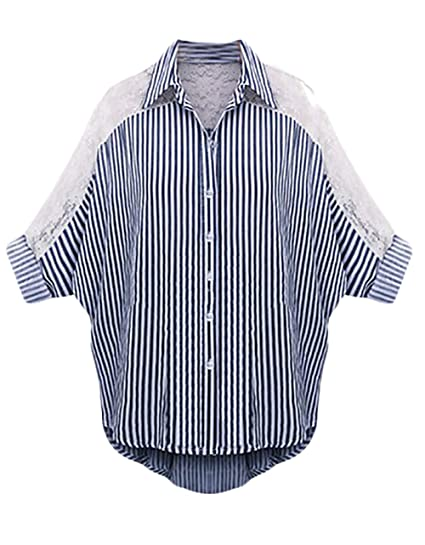 Camisas Mujer Blusas Tallas Grandes Verano Rayas Splice Encaje 3/4 Manga Cuello Solapa Un