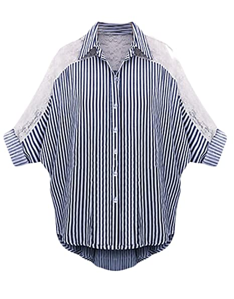 Camisas Mujer Blusas Tallas Grandes Verano Blusa Tops Rayas Splice Encaje 3/4 Manga Cuello