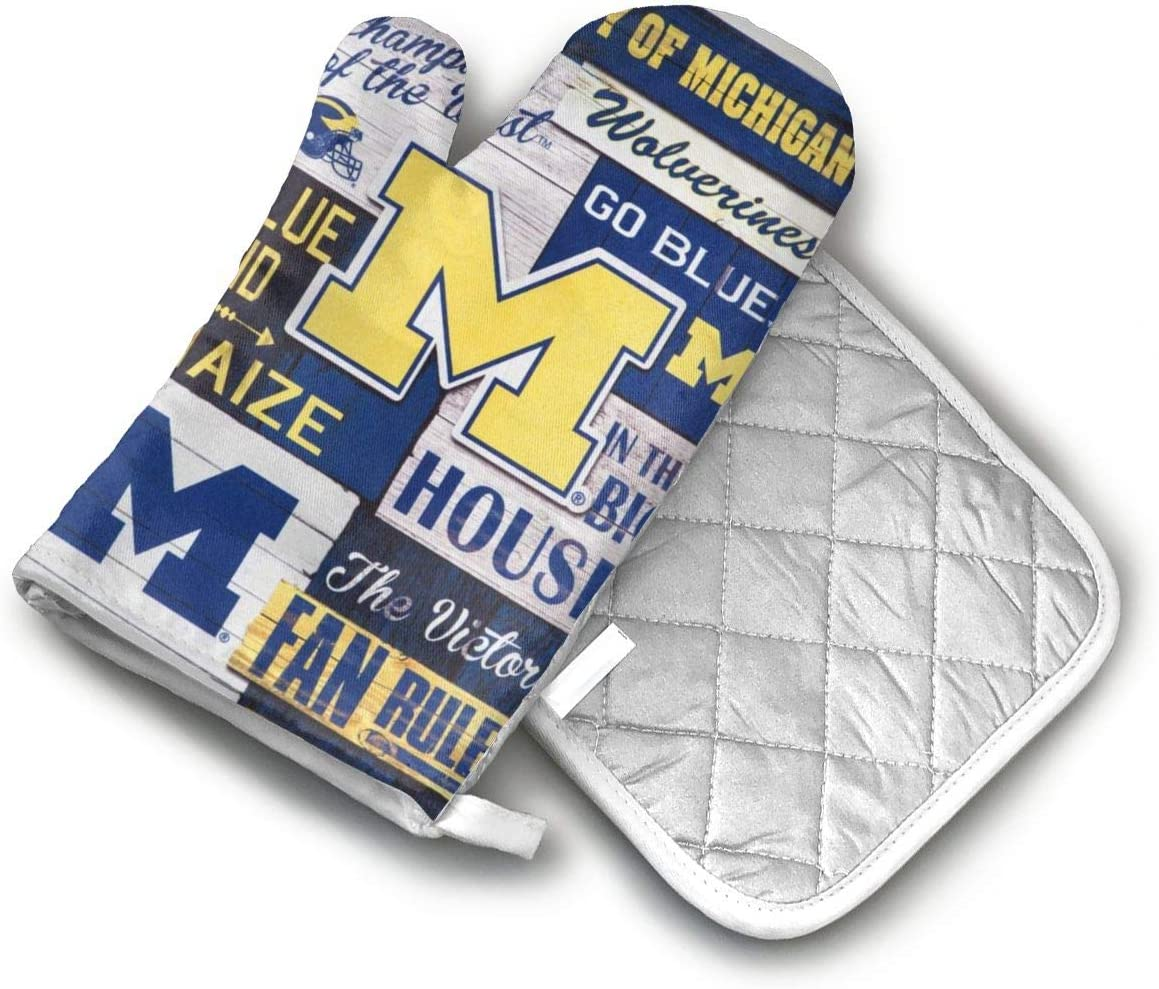 AISDHAJKSD Michigan Wolverines Premium Terylene/Nylon Oven Mitts and Pot Mat,Pot Mat/Hot Pads, Heat Resistant Gloves BBQ Kitchen