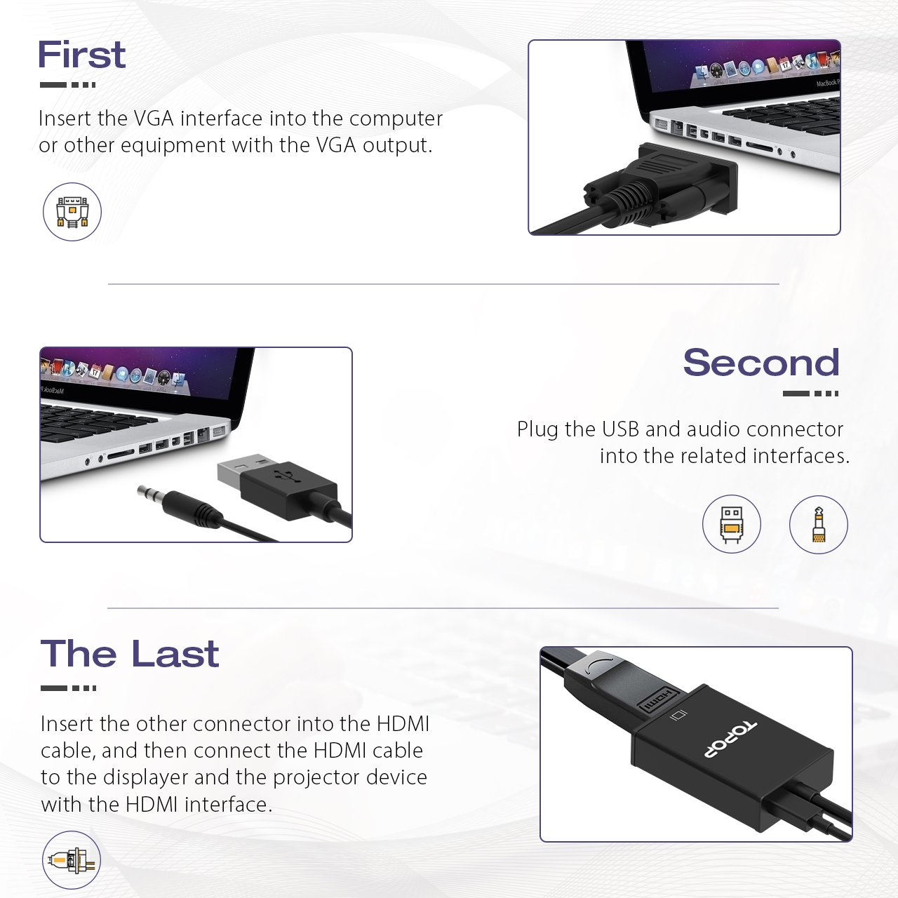 Topop VGA to HDMI Adapter Convertor Cable Converter: Amazon.co.uk ...