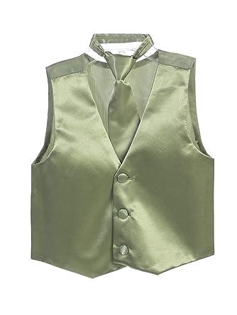 40392cb4 Amazon.com: Tip Top Kids Little Boys Sage Three Button Satin Vest ...