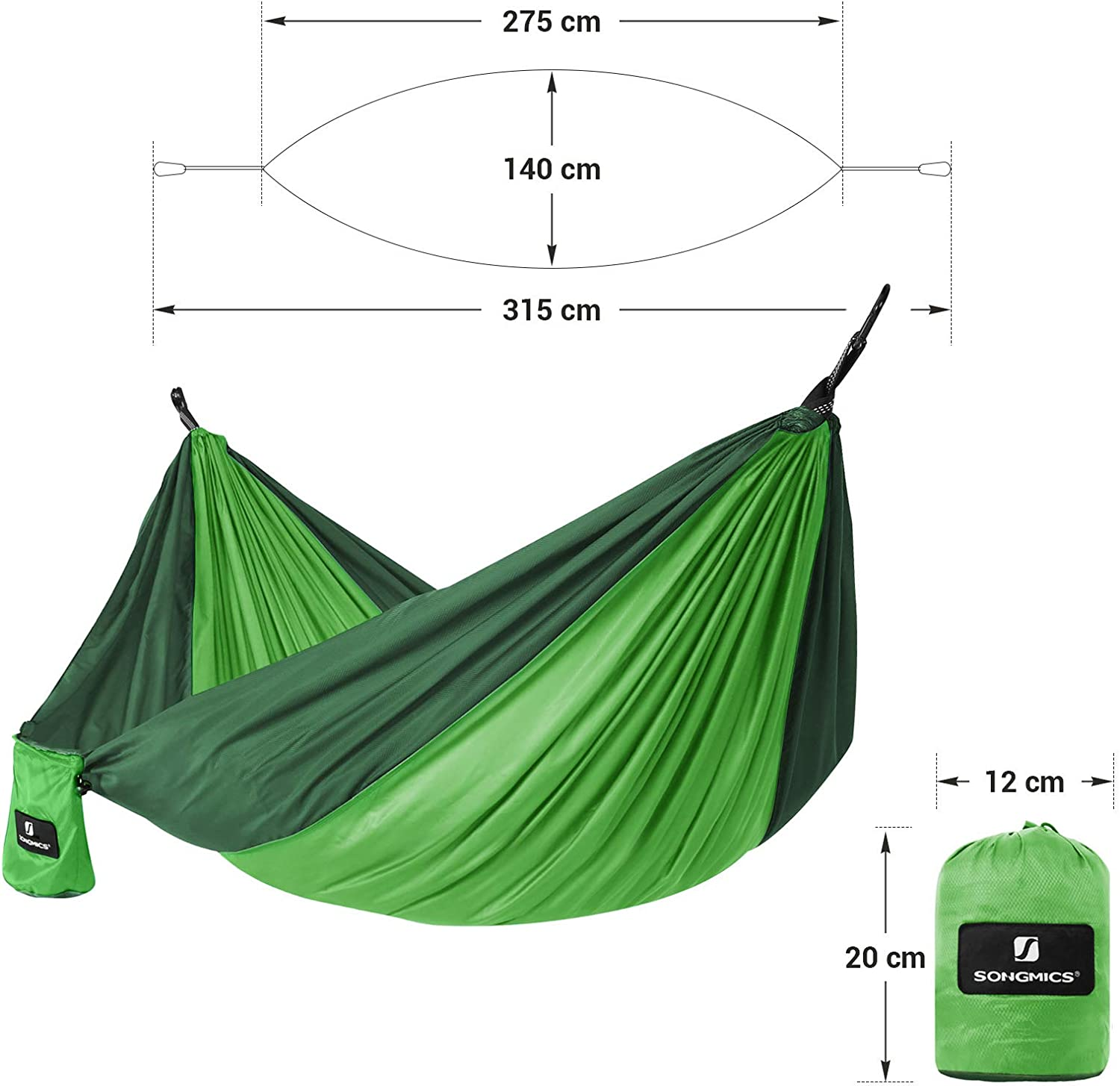 Breathable 300 kg Load Capacity 275 x 140 cm SONGMICS Camping Hammock Lightweight T/ÜV Tested with Multi-Loop Straps and Carabiners Light Green and Dark Green GDC14GN Quick Drying
