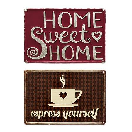 Photolini Set de 2 Carteles de Chapa Vintage Espresso 20x30 ...