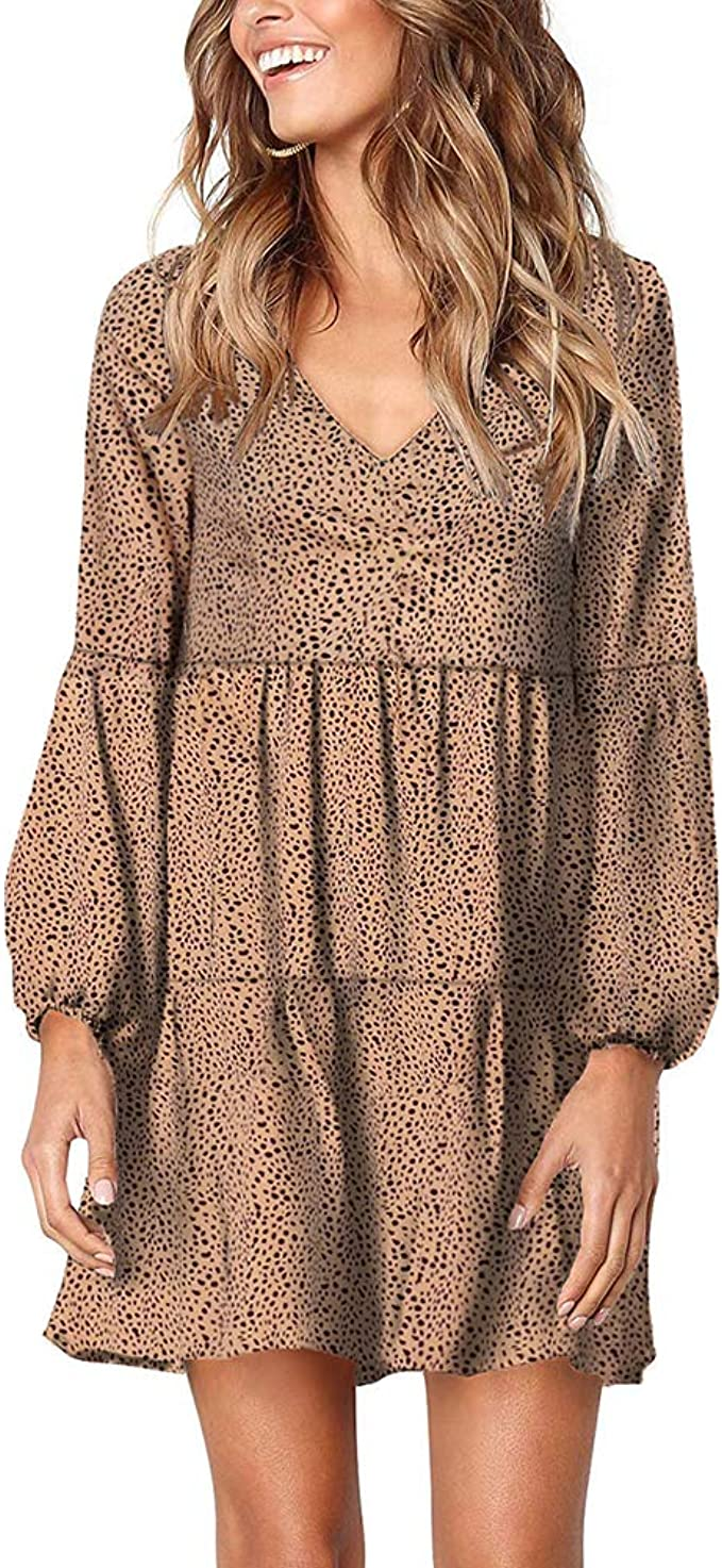 Ailunsnika Women Loose Leopard V Neck Tiered Ruffle Dress Summer Pleated Tunic Casual Mini Dresses