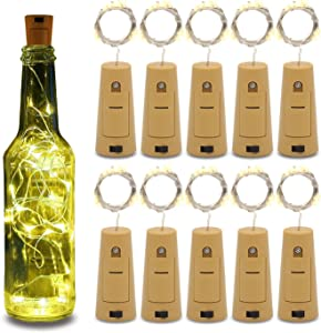 Betus 10 Pack Wine Bottles Cork String Lights - Battery Powered - Decorations for Garden, Wedding, Christmas & Party - Warm Light – 10 LEDs/3 Ft (Packs of 10)