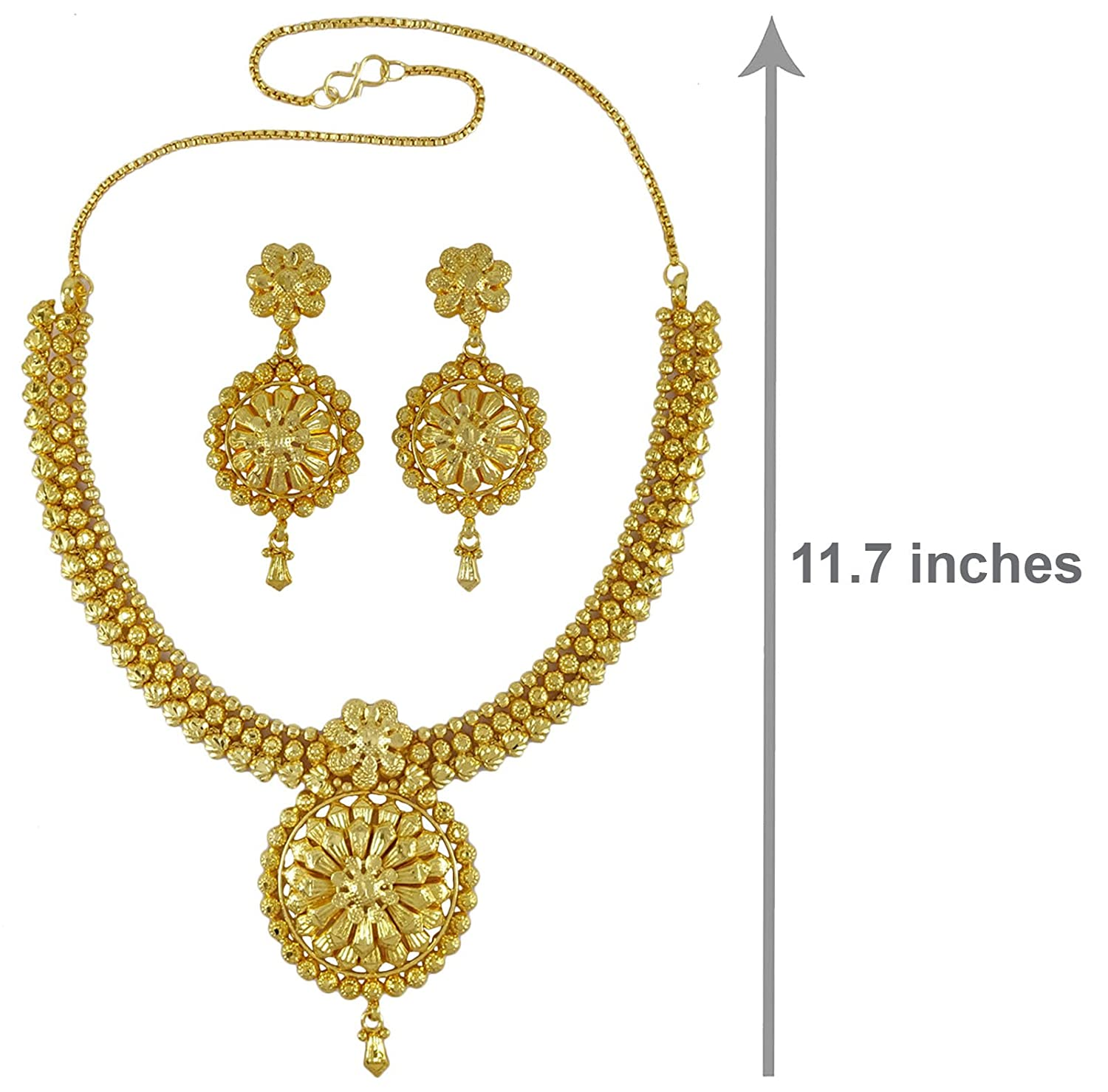 26c4b837a8f6c Banithani Ethnic Indian Traditional 18k Gold Plated 2 PC Necklace ...