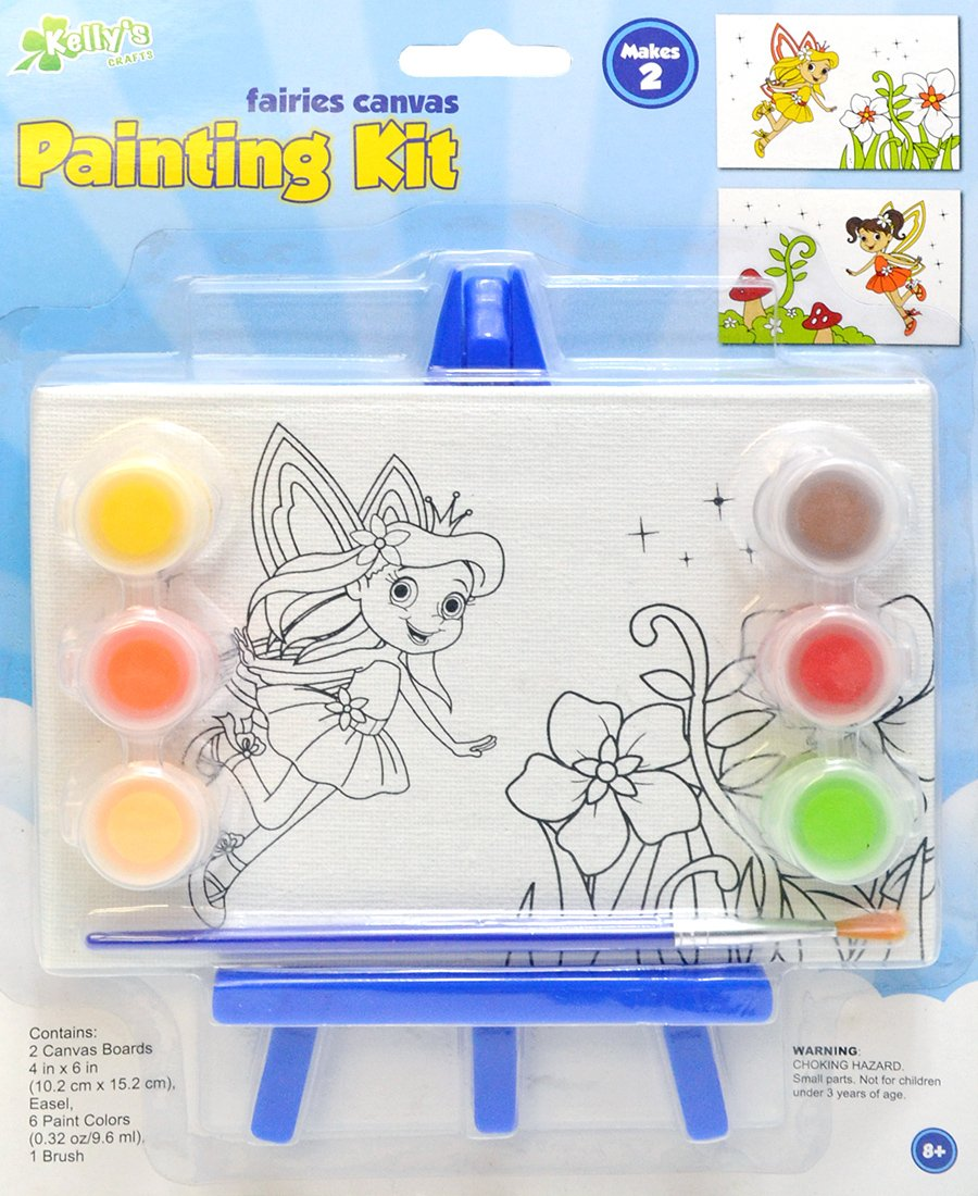2 Pack 4x6 Canvas Painting Kit with mini easel - Fairies The New Image Group 300-71332