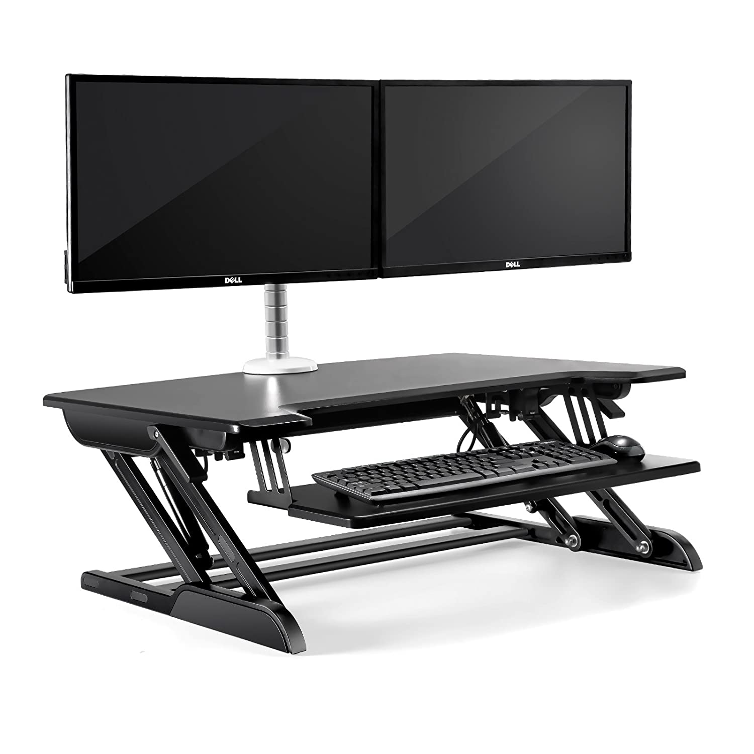 UPERGO 36 Aluminum Frame Height Adjustable Sit-Standing Desk Converter with Keyboard Tray, Black(ID-36B)