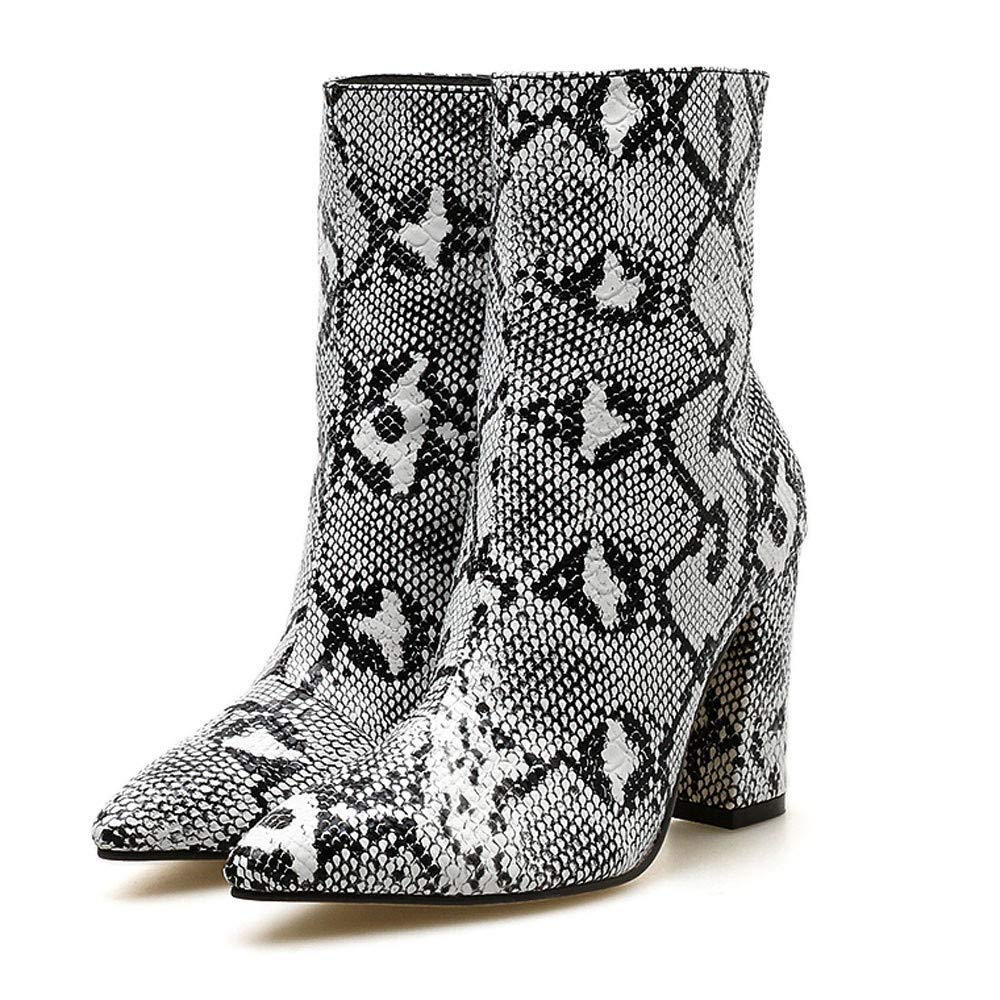 0abec338e08f9 Amazon.com  Women s Mid-Shaft Snakeskin Material-Block Fashion Chunky High  Heel Ankle Boots Pointed Toe Boot (White