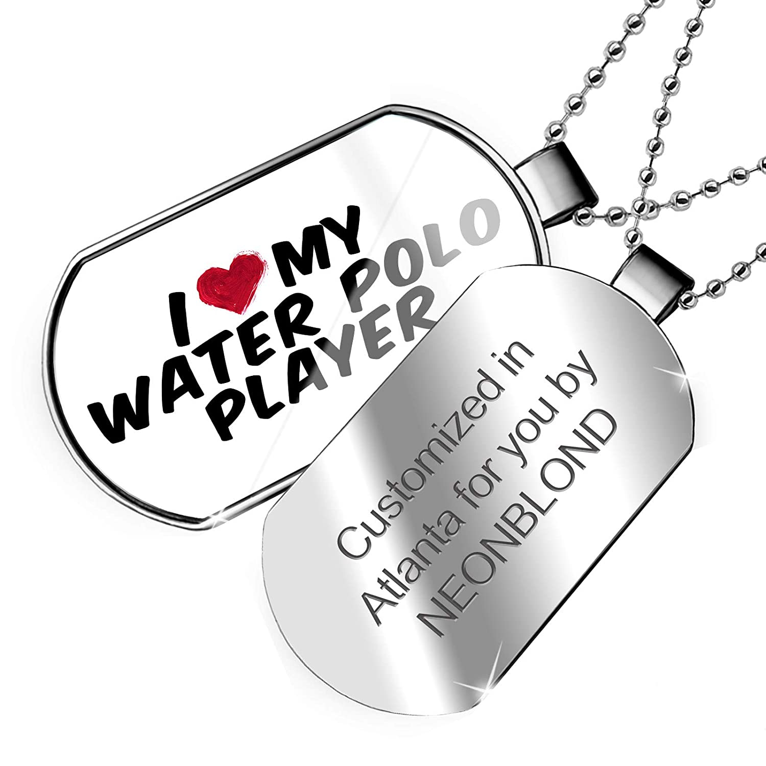 NEONBLOND Personalized Name Engraved I Heart Love My Water Polo Player Dogtag Necklace