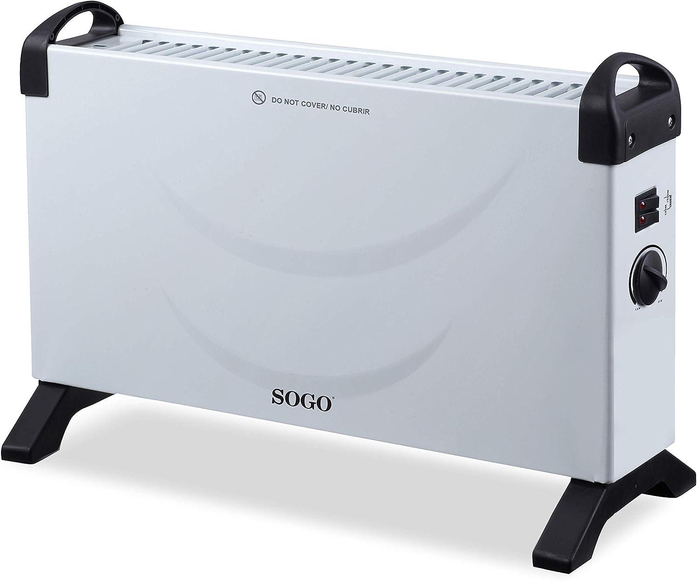 SOGO SS-18415 Convector Electrico, Calefactor con 2000W de Potencia, Estufa Electrica con Termostato para Bajo Consumo, Portátil, Color Blanco