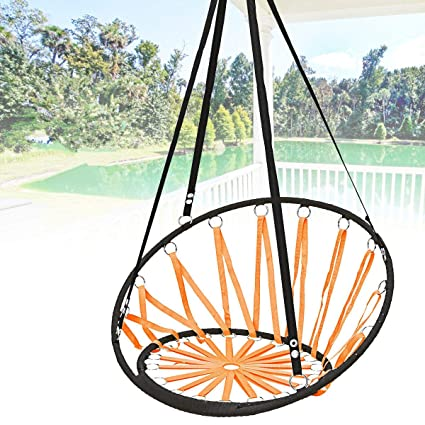 Tradico Handmade Knitted Round Hammock Outdoor Indoor Dormitory Bedroom Children Swing Bed Decor