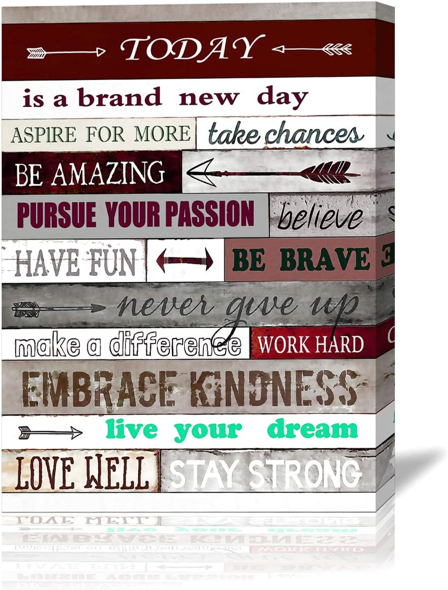 Office Inspirational Wall Art Today is A Brand New Day Motivational Poster Quotes Office Wall Decor for Living Room Bedroom Bathroom Decoration Canvas Print Framed Art Ready to Hang 16x24inch