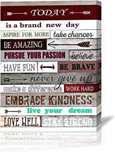 Inspirational Wall Decor Motivational Canvas Wall Art Today is A brand New Day Motivational Poster Quotes Office Wall Decor for Bedroom Bathroom Decoration Canvas Print Framed Artwork Size:20x28 inch