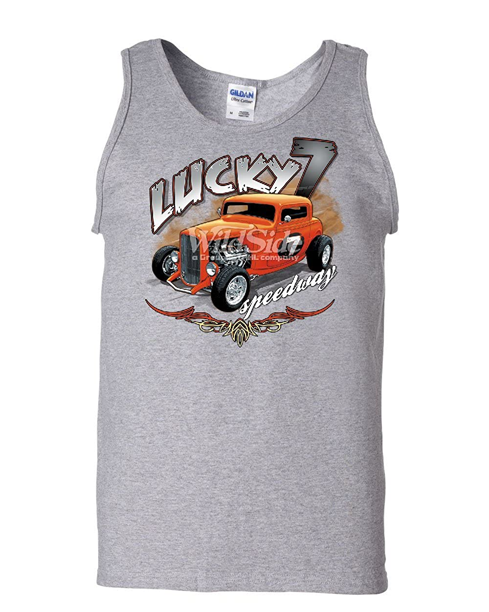 Tee Hunt Lucky 7 Hot Rod Tank Top Speedway American Classic Cars Route 66 Sleeveless