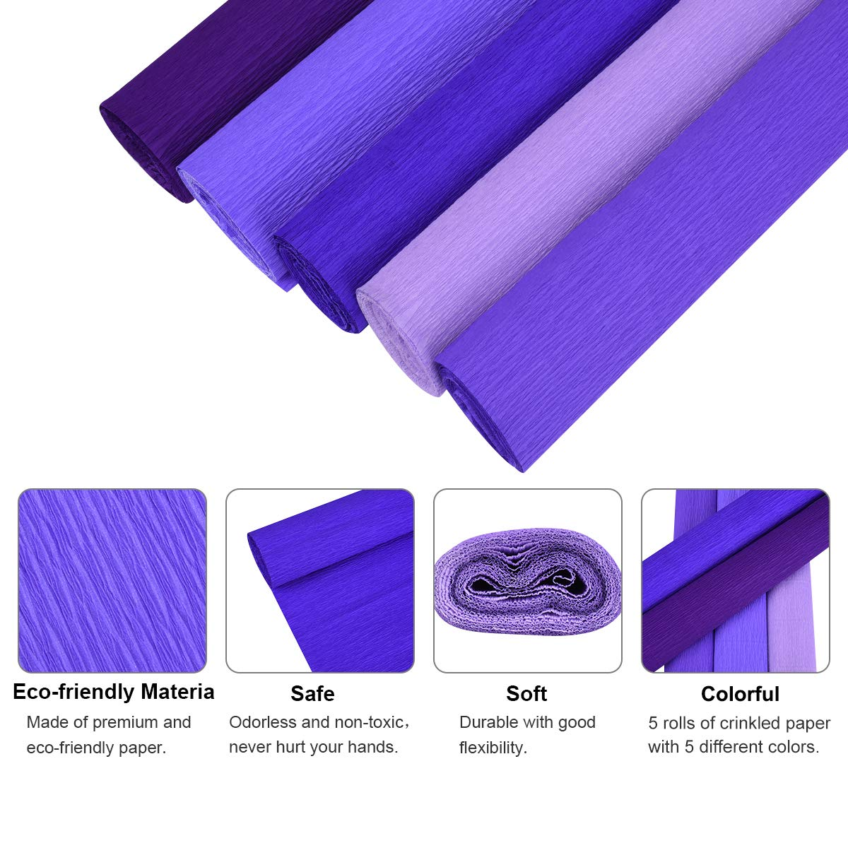 YoungRich 10 Pieces Crepe Paper Folds Rolls DIY Flower Packing Handmade Crinkled Paper 10 Assorted Color Eco-friendly for Wedding Birthday Party Decoration Multi-color 50x250cm