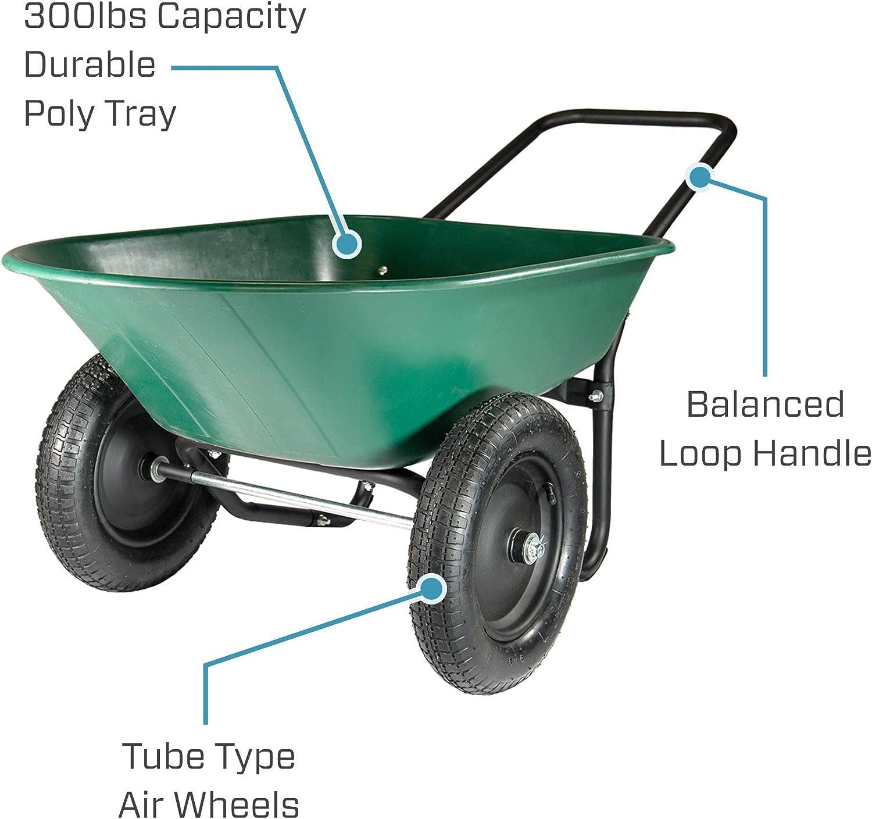 Amazon Com Marathon Yard Rover 2 Tire Wheelbarrow Garden Cart Green Black Garden Outdoor