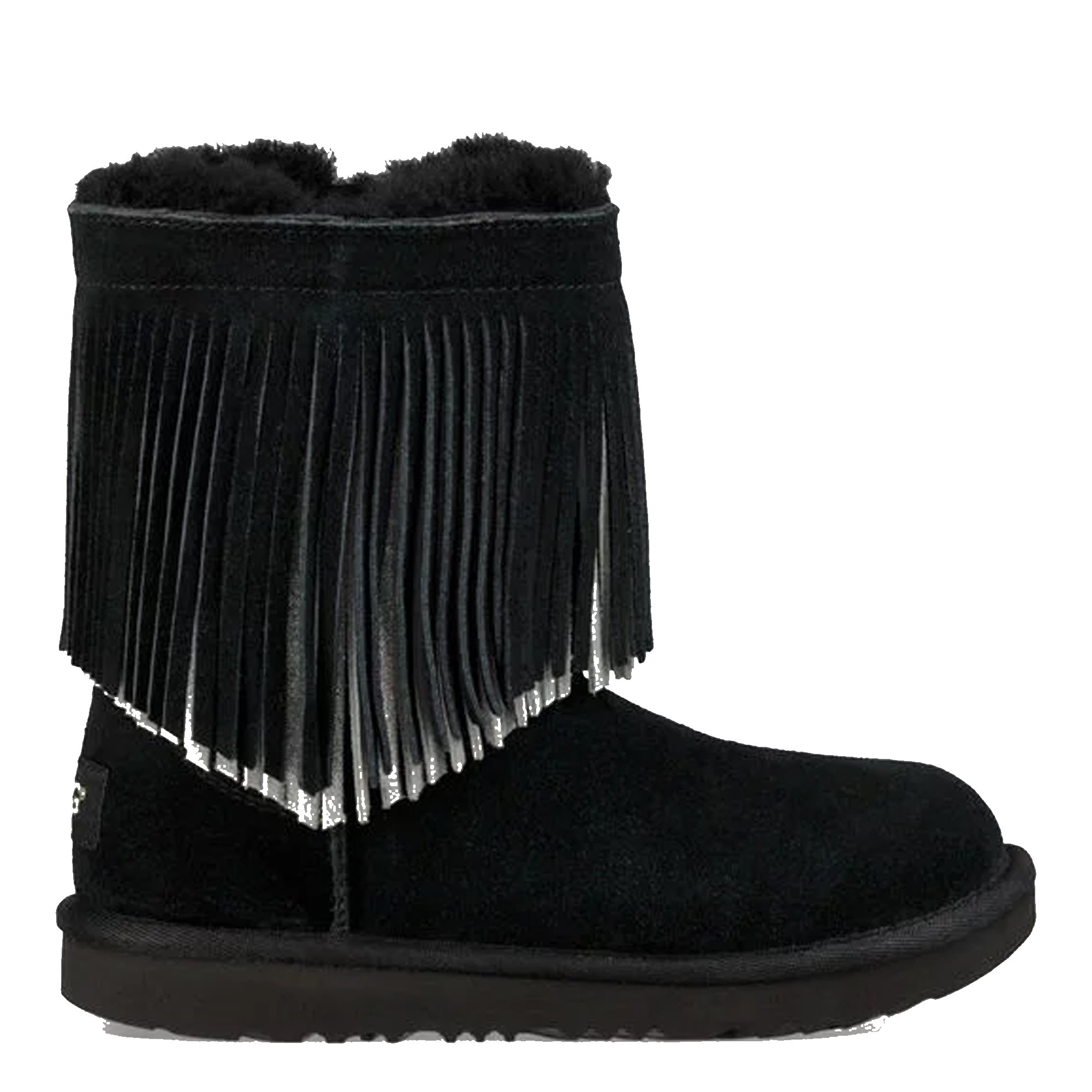 UGG Big Kids Classic Short II Fringe Boot Black Size 13 M US Little Kid