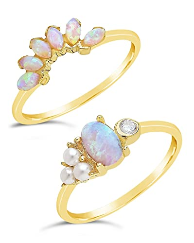 6e71793a28cc0 Sterling Forever - Gold Vermeil, Marquise Cut Created Opal & Bezel Set CZ  Stone w/Simulated Pearls Stackable Ring Set for Women