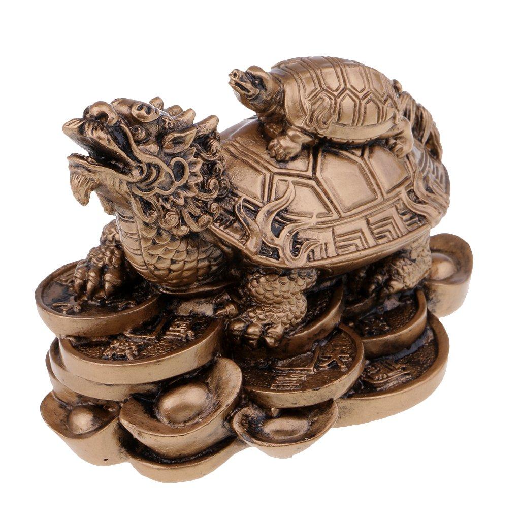 MagiDeal Wealth Money Dragon Tortoise Statue Figurine Good Luck Home/Car Decor Bronze non-brand