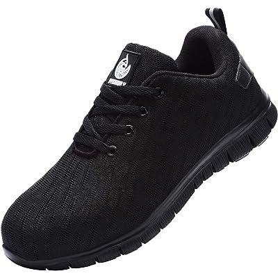 Zapatillas de Seguridad Hombre Mujer,Trabajo con Puntera de Acero Transpirable Reflectante Botas de Seguridad