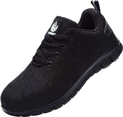 Zapatillas de Seguridad Zapatos de Seguridad,Trabajo con Puntera de Acero Transpirable Reflectante Botas de Seguridad