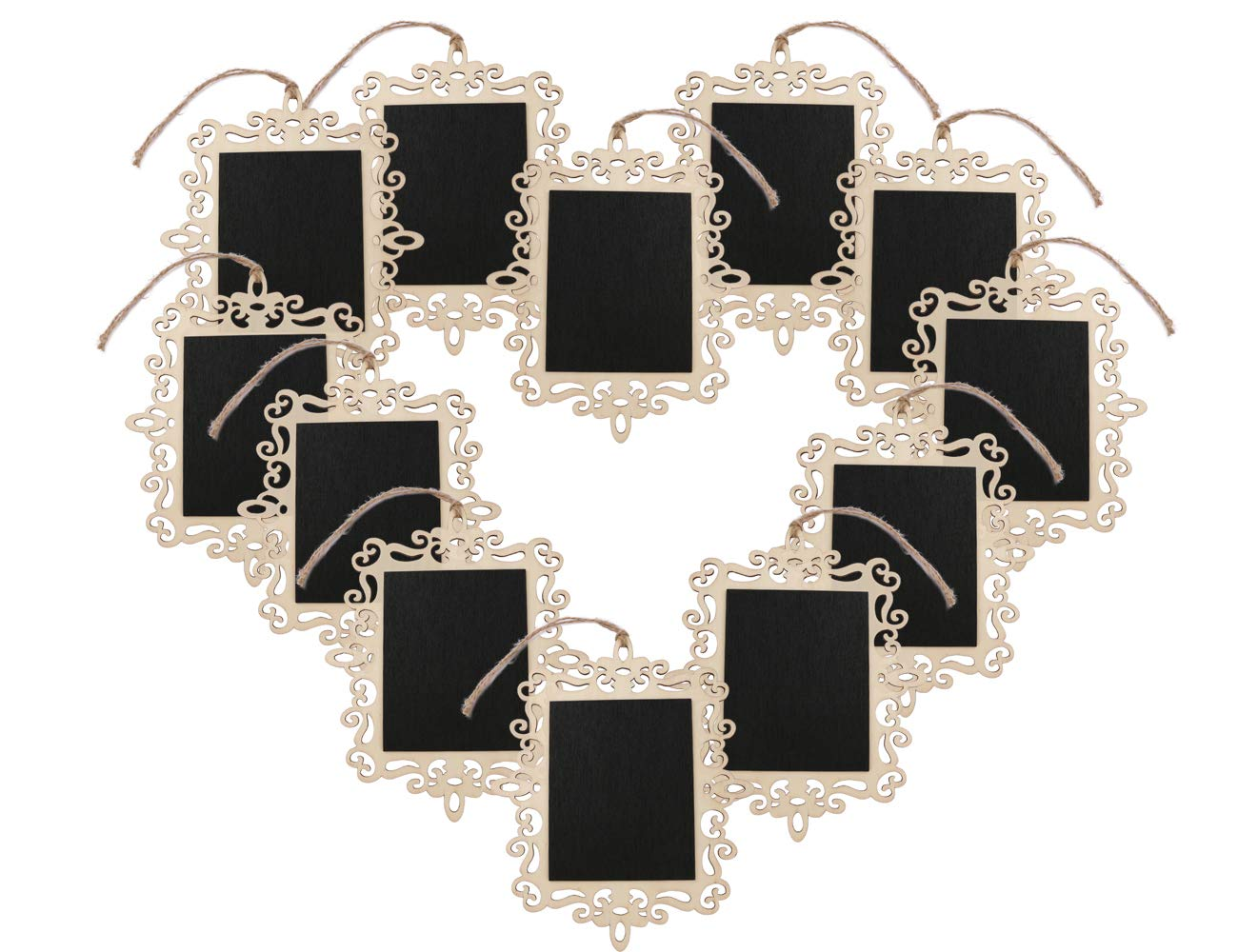 Dedoot 12pcs Hanging Chalkboard Signs Mini Chalkboard Signs with Decorative Boarder - Decorative Chalkboards Rectangle Message Board for Walls, Wedding, Parties, Kitchen Decoration by Dedoot