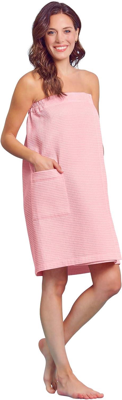 Women Waffle Spa/Bath Wrap Soft Light Comfortable Adjustable Closure, Dries Fast