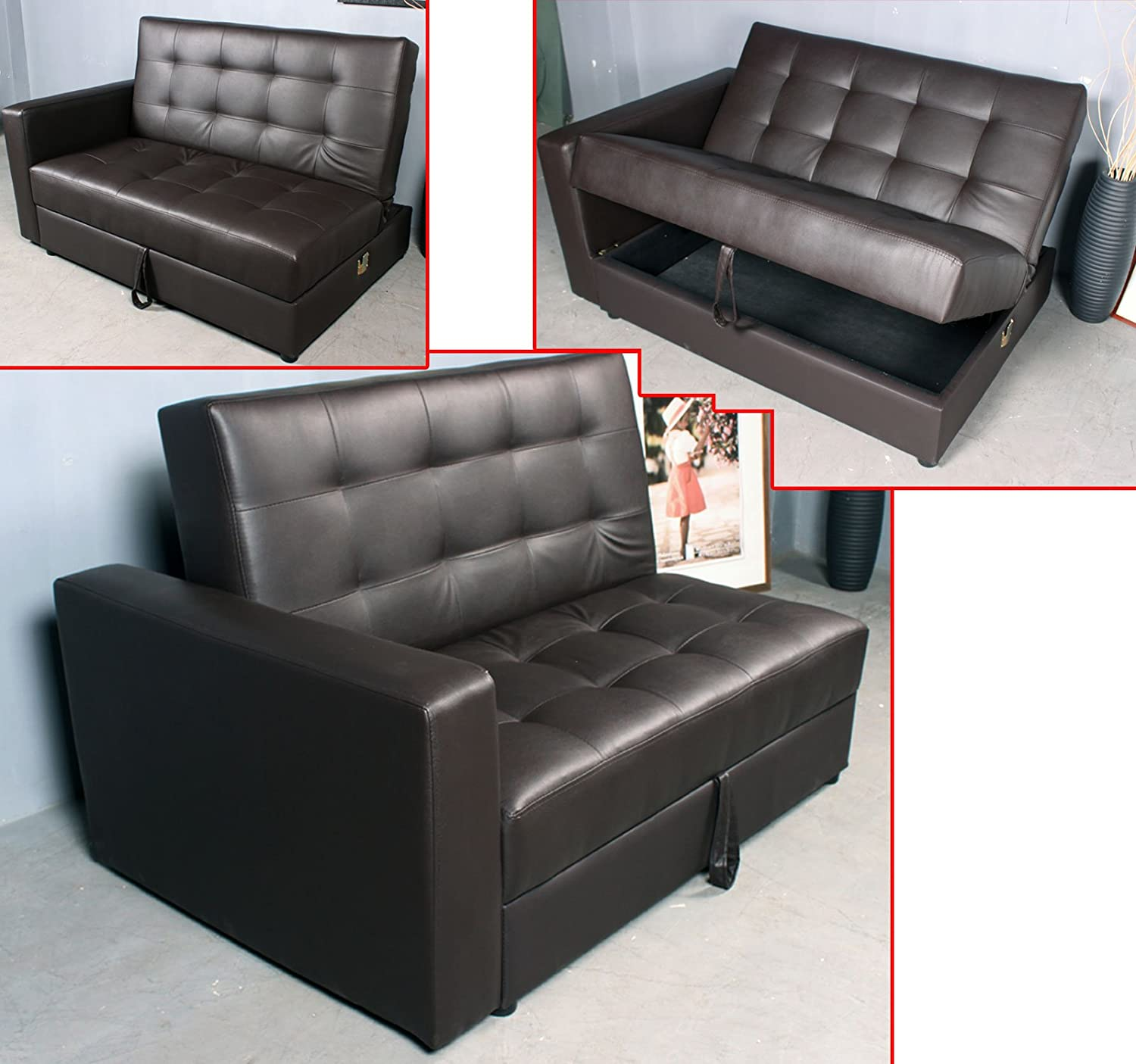 Hom Multi function Fordable Leather Sofa Bed Set Loveseat