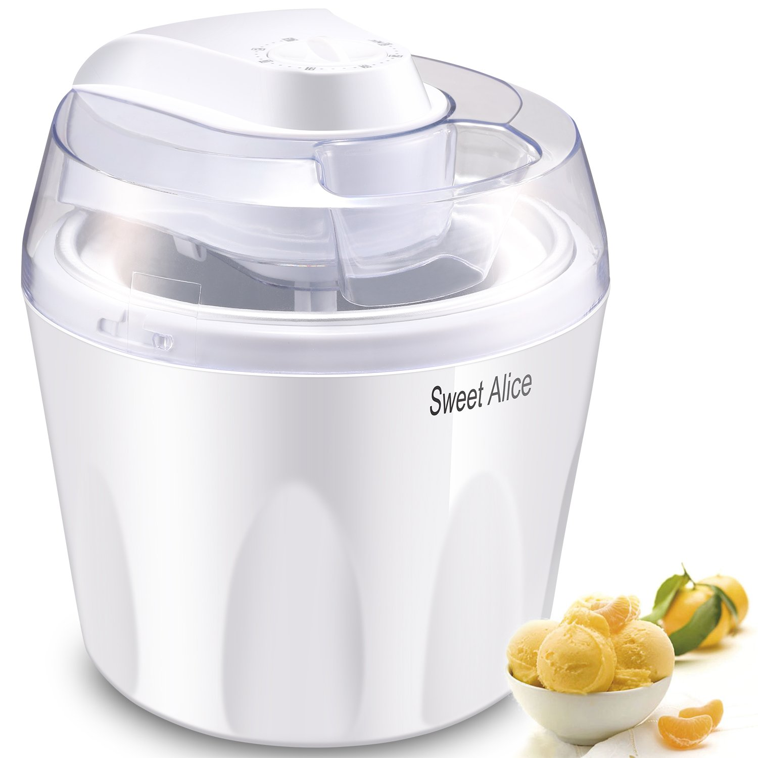 Ice Cream Maker, Sweet Alice 1.5 Quart Ice Cream Machine with Timer Auto Shut-off, BPA Free for Kids DIY Soft-Serve Ice Cream, Frozen Yogurt, Sorbet Maker for Home