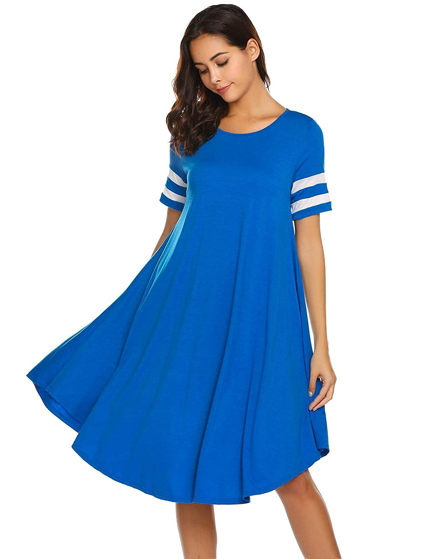 bluee1 Wildtrest Women's Casual Plain Pocket Loose TShirt Dress
