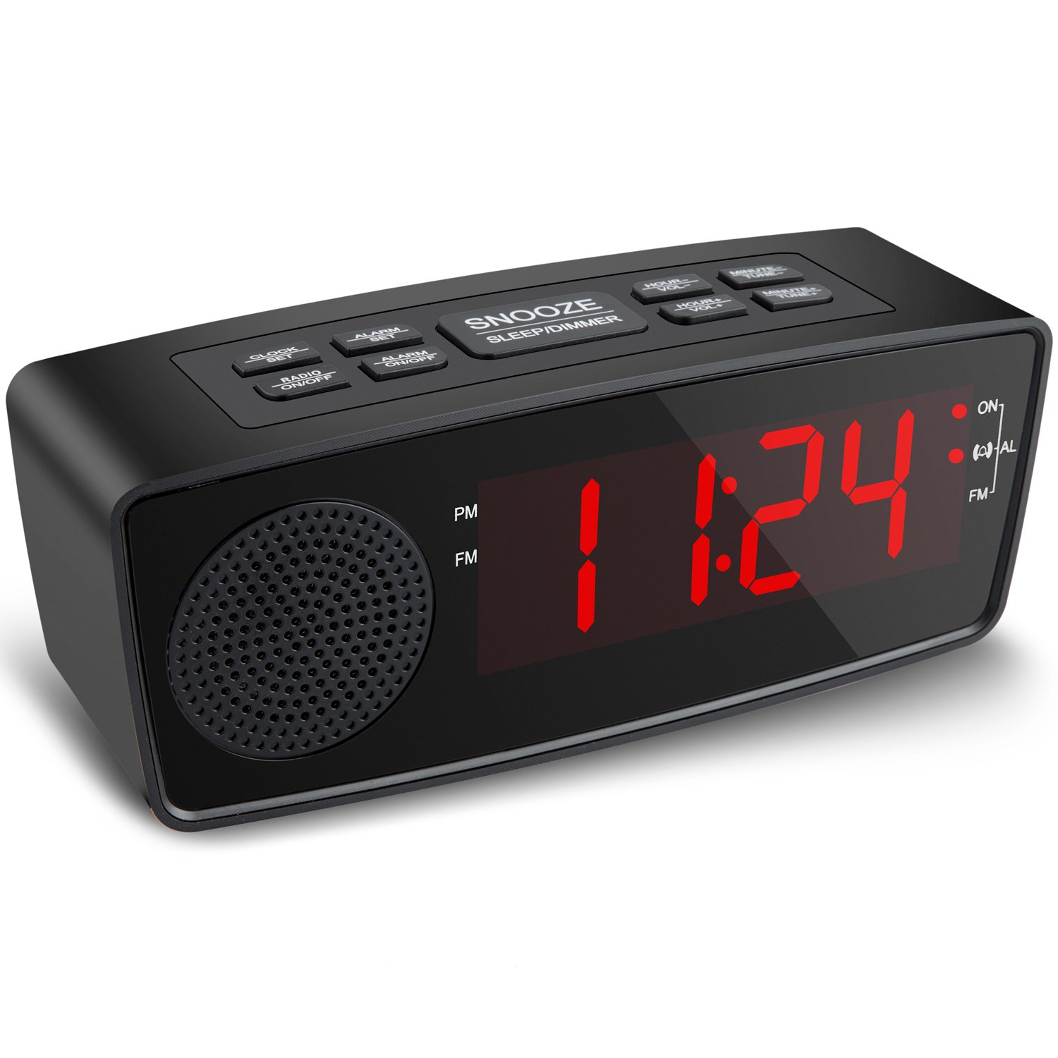 Clock Radios, Digital FM Alarm Radio Clock with USB Charging Port,LED Display, Dimmer, Sleep Timer, Snooze and Battery Backup for Bedrooms,Tables