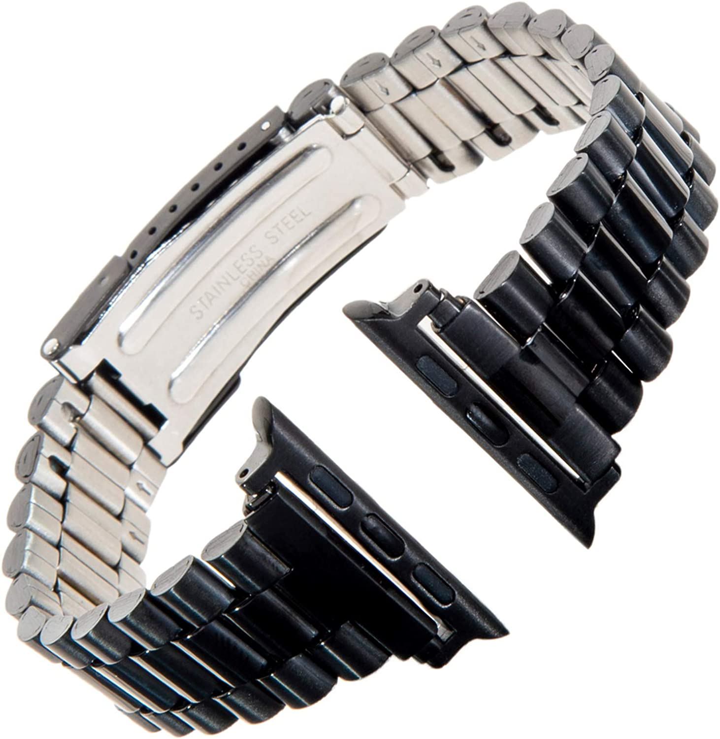 Gilden for Apple 42mm/44mm President-Style Non-Expansion Extra-Long Stainless Steel Watch Band 1536W-SMART