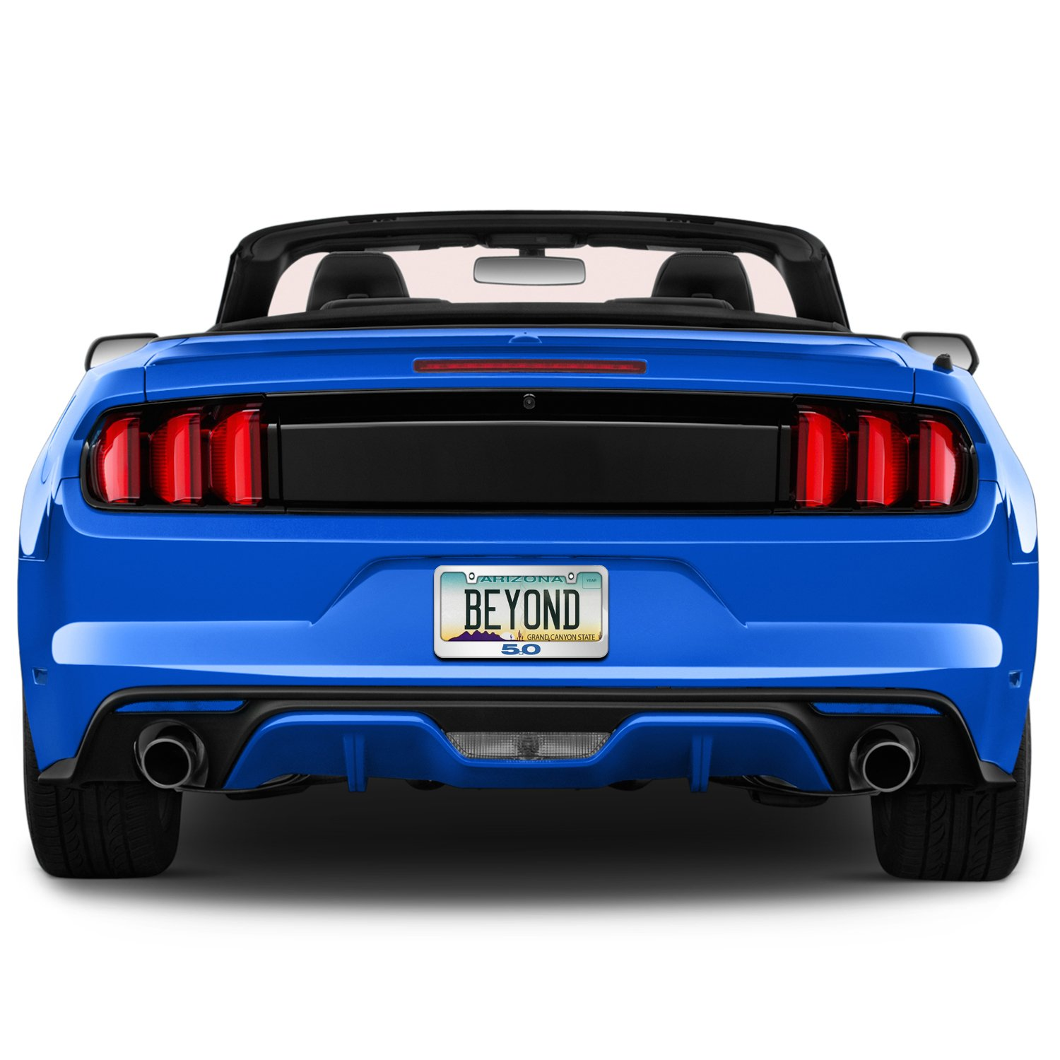 Ford Mustang 5.0 in Blue Mirror Chrome Metal License Plate Frame by iPick Image Official Licensed Product Made in the USA
