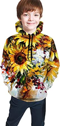 Sudaderas con Capucha Niño Cool Children's Hoodie 3D Printing Youth Pullover Casual Sweatshirt Boys and Girls Oil Painting Flower Casual