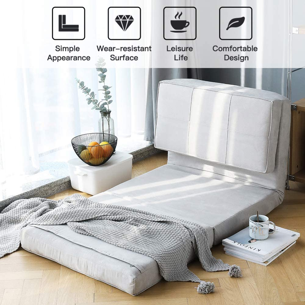 Aclumsy Futon Furniture Sleeper Sofa Folding Memory Foam Bed Floor Couch Guest Chaise Lounge Convertible Upholstered Chair(Gray)