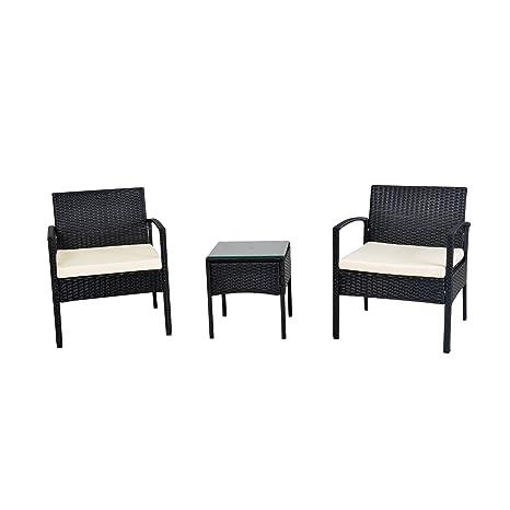 EBS mimbre de 3 piezas Jardín Exterior Muebles De Jardín Mesa de café + blanco sofá