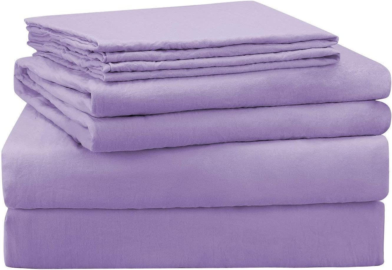 Perfect Fit 1000 Thread Count Heavy Wight Egyptian Cotton Sheet Set Lavender Solid 4 Pieces Olympic Queen Bed Sheets 9 Inches Deep Pocket