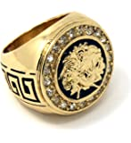 Mens 14K Gold Plated Hip Hop Iced Medusa Face Cz Pimp Ring Sizes 7 8 9 10 11 12 MR12