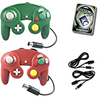 Crifeir 2 Pack Wired Controller for Gamecube NGC Wii Video Game,with 2 Cable and 129MB Memory Card(Red and Green)
