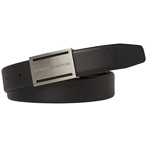 Tommy Hilfiger THD Leather Plaque Belt 3.5 W115 Black fKoHpGYpXL