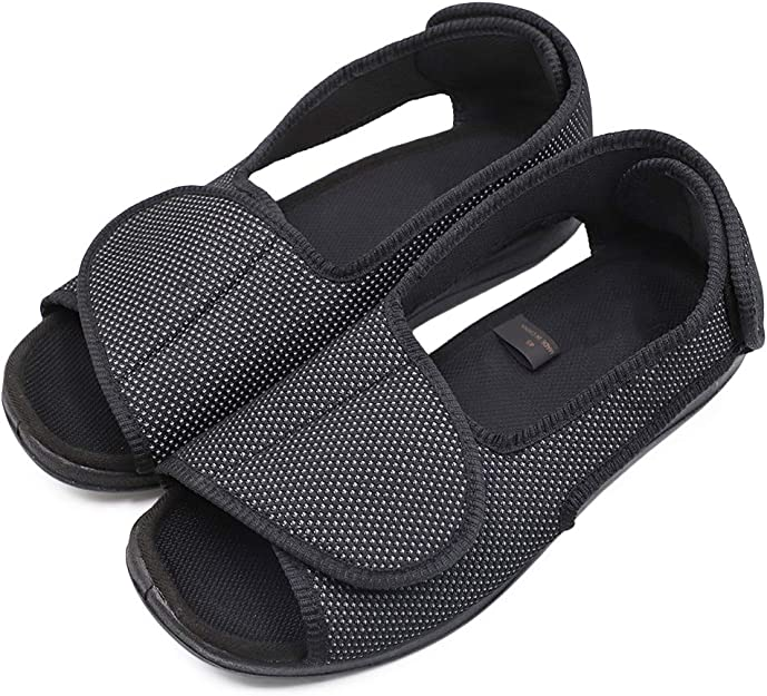 Womens Diabetic Shoes Edema Comfortable Sandal Open Toe Extra Wide Width Roomy Adjustable Touch Close Strap House Slippers for Swollen Feet Arthritis Elderly Mother Woman