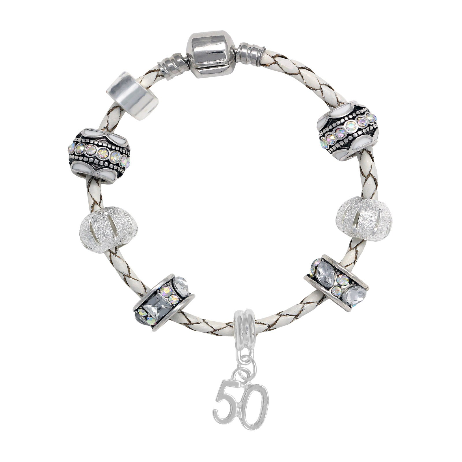 Truly Charming Happy Birthday Leather Charm Bracelet Pandora Style Gift Boxed (50th)