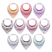 10-Pack Baby Bandana Drool Bibs for Girls with Adjustable Snaps, Organic Cotton Soft and Absorbent Newborn Baby Shower Gift, Toddler Girl Solid Color Bibs for Drooling and Teething by MiiYoung