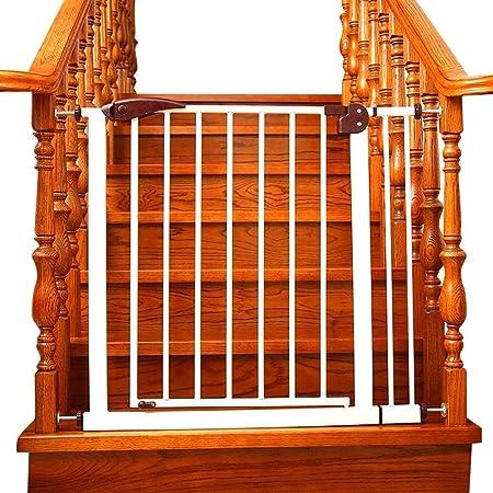 Barrera de Seguridad Puerta de seguridad interior de hierro blanco, Extra ancho y alto Puerta de bebé Montado a presión Perrito ajustable Para mascotas Parque de mascotas Para Escalera Puerta Puerta d: