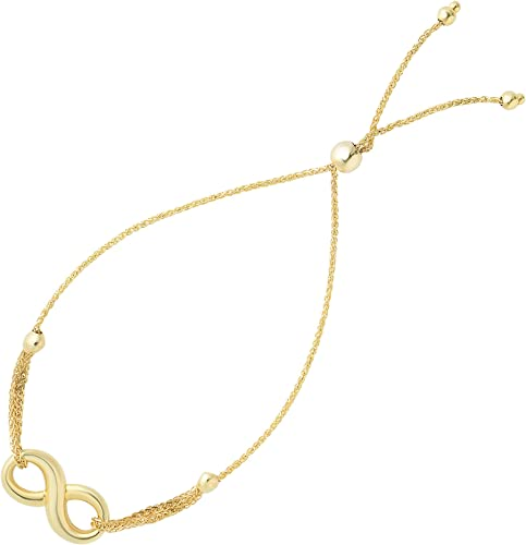 """Lariat Type With Heart Clasp Bolo Friendship Bracelet In 14K Yellow Gold 9.25/"""""""
