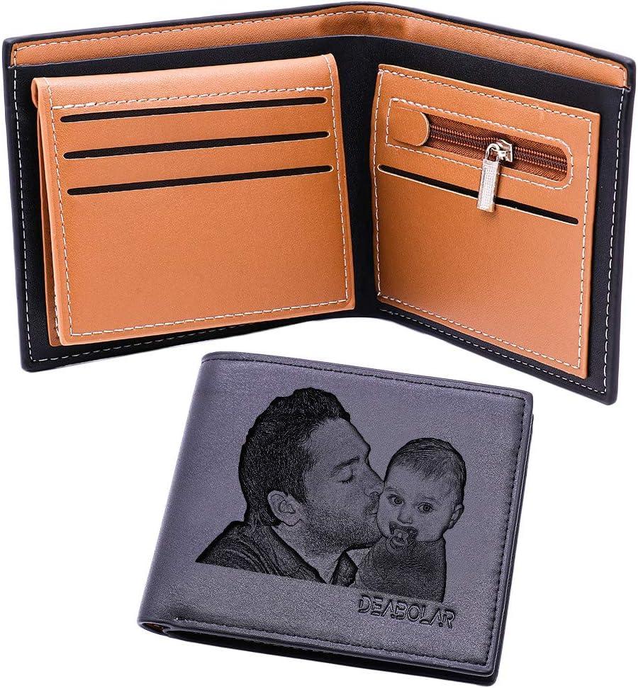 Ideas de Regalos para papá Cartera Personalizada para Regalo del día del Padre/Cartera de Cuero para Hombre Personalizada/Plegable con Cremallera papá
